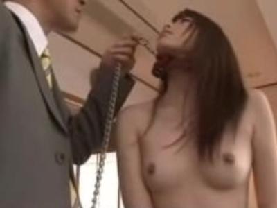 OLの調教無料エロ動画。首輪をつけてお尻を叩かれてイってしまう100%調教済みの痴女OLの変態セックス